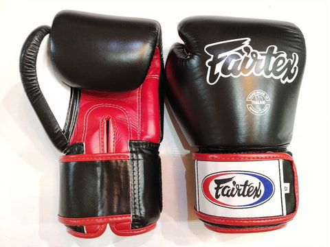 Fairtex Leather Boxing Gloves [Black/Red]