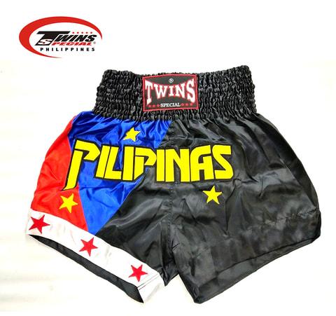 Twins Special Muaythai Shorts Pilipinas [Black/Blue/Red]