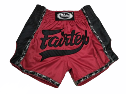 FAIRTEX BS1703. New Slim Cut Muaythai Shorts [Red/ black]