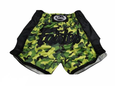 FAIRTEX BS1710. New Slim Cut Muaythai Shorts [Green Camo]
