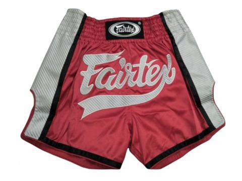 FAIRTEX BS1704. New Slim Cut Muaythai Shorts [Red/ White]